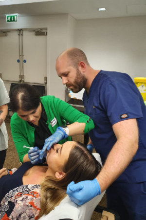 Dr Luke Conway training dermal filler treatment of the chin